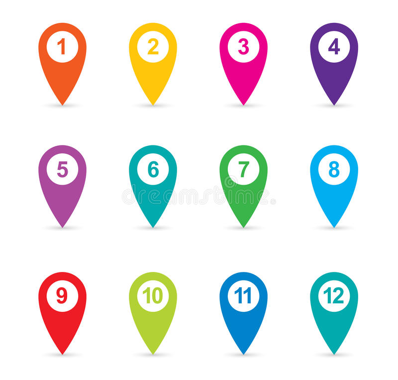 Set of colorful map pointers, map pin icons. Set of colorful map pointers map pin icons royalty free illustration
