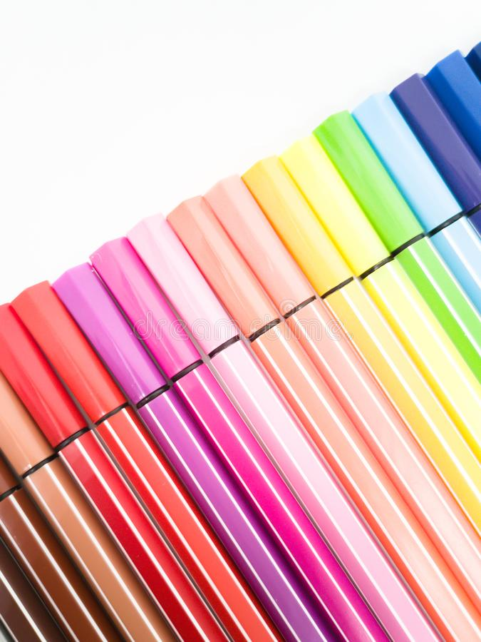 Set of colorful marker paint pen isolated royalty free stock photography