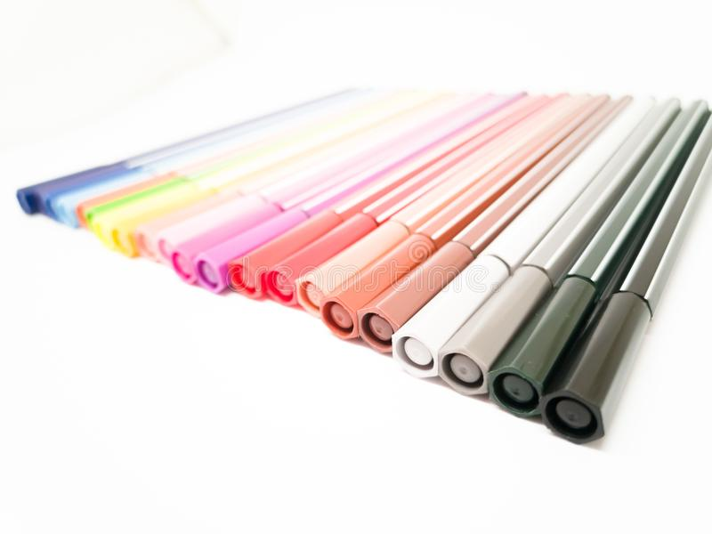 Set of colorful marker paint pen isolated stock images