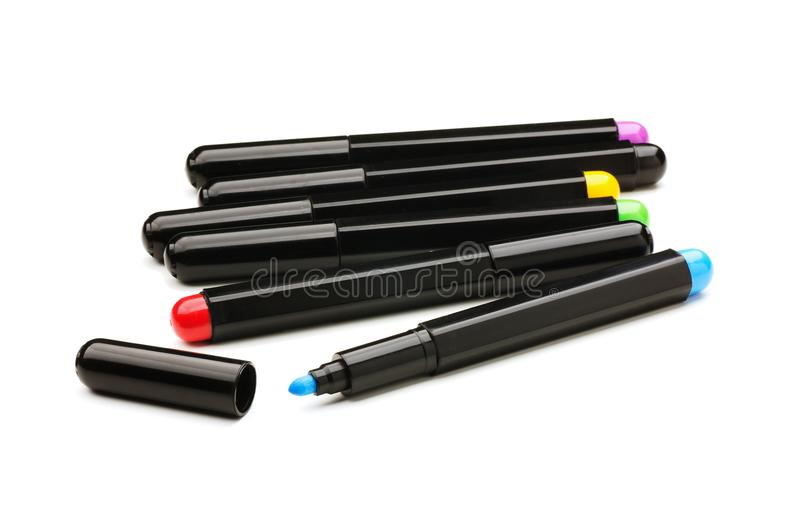 Set of colorful markers stock image
