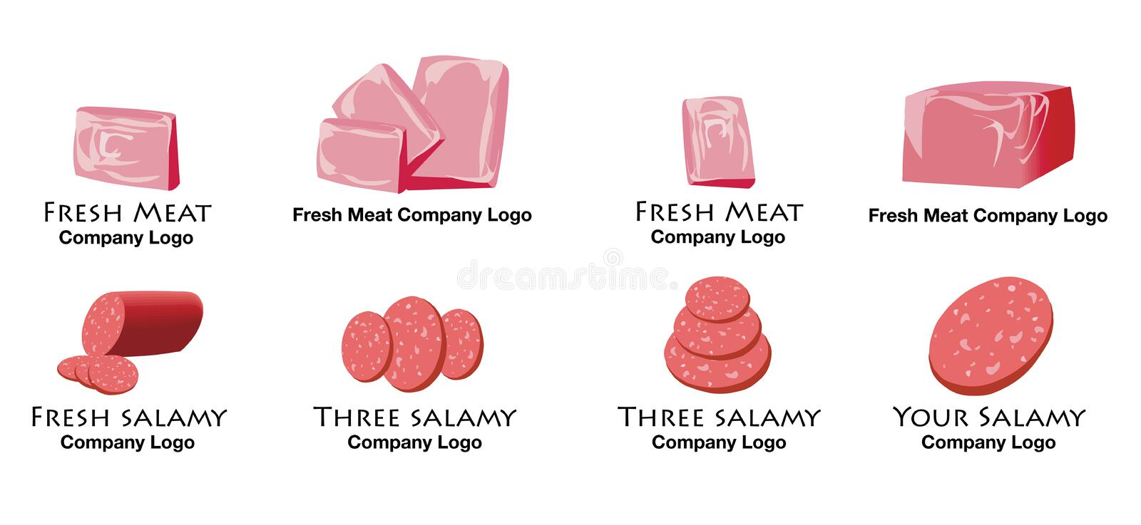 Set of colorful meat and salami logo stock photos