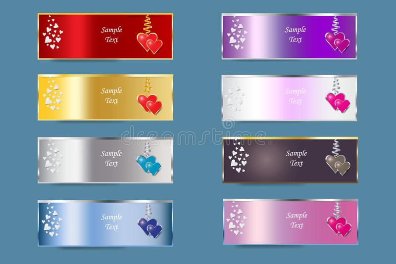 Set of colorful metal banners of Valentine`s Day royalty free illustration
