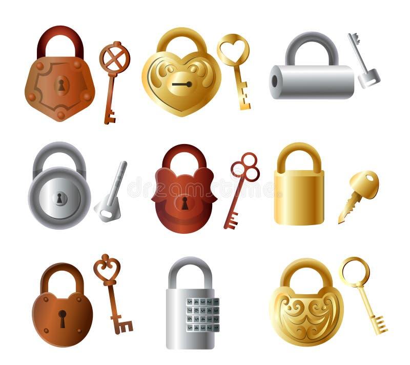 Set of colorful metal padlock with keys, gold color royalty free illustration