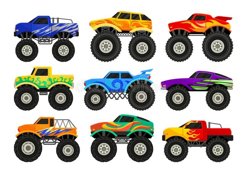Set of monster trucks. Heavy cars with large tires and black tinted windows. Flat vector for advertising poster. Set of colorful monster trucks. Heavy cars with stock illustration