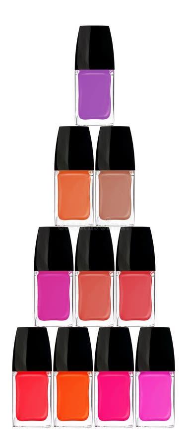 Set of colorful nail polishes isolated on white. Background stock image