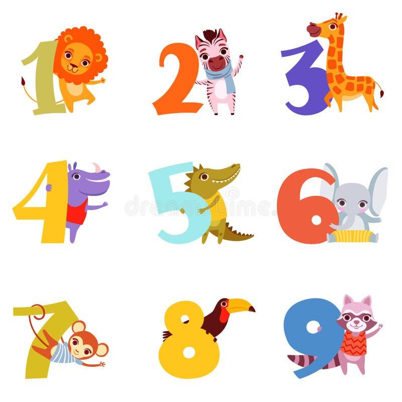 Colorful numbers from 1 to 9 and animals. Cartoon lion, zebra, giraffe, hippopotamus, crocodile, elephant, monkey stock illustration
