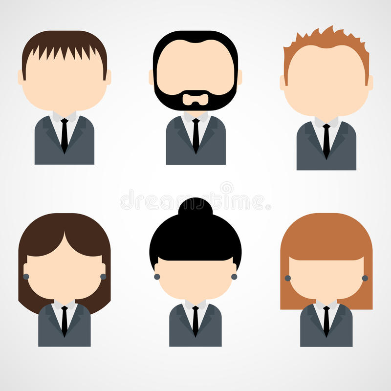 Set of colorful office people icons. Businessman. Businesswoman. royalty free illustration