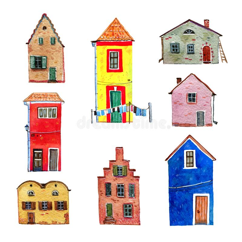 Set of colorful old stone european houses. Hand drawn cartoon watercolor illustration. On white background stock image