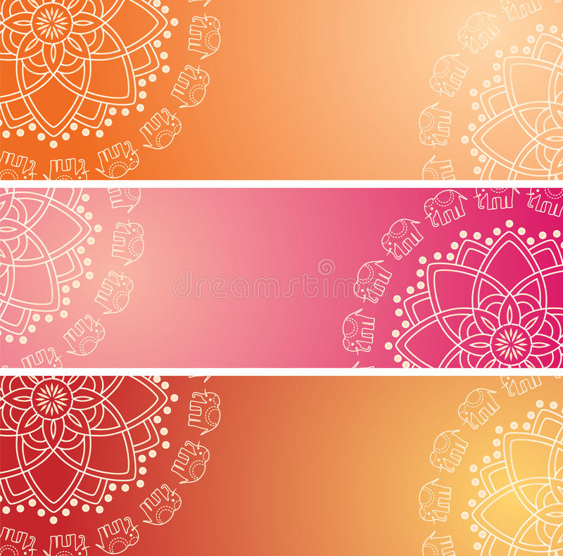 Set of colorful oriental elephant henna mandala horizontal banners. Set of 3 colorful traditional Indian henna elephant mandala design horizontal banners with royalty free illustration