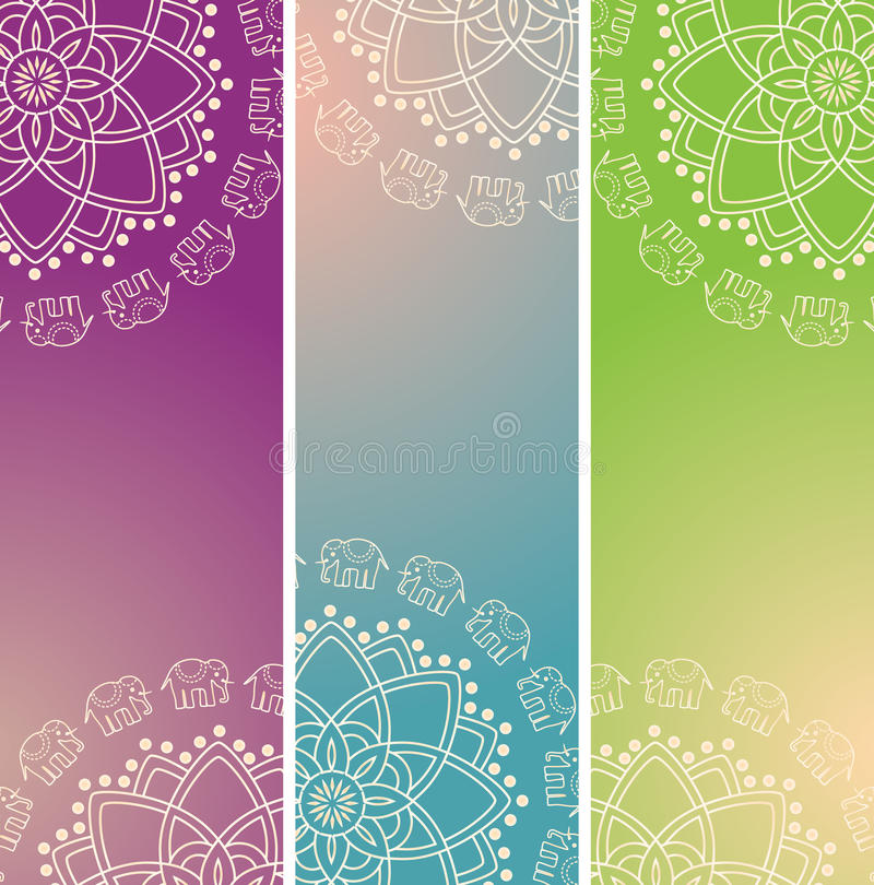 Set of colorful oriental elephant henna mandala vertical banners. Set of 3 colorful traditional Indian henna elephant mandala design vertical banners with space royalty free illustration