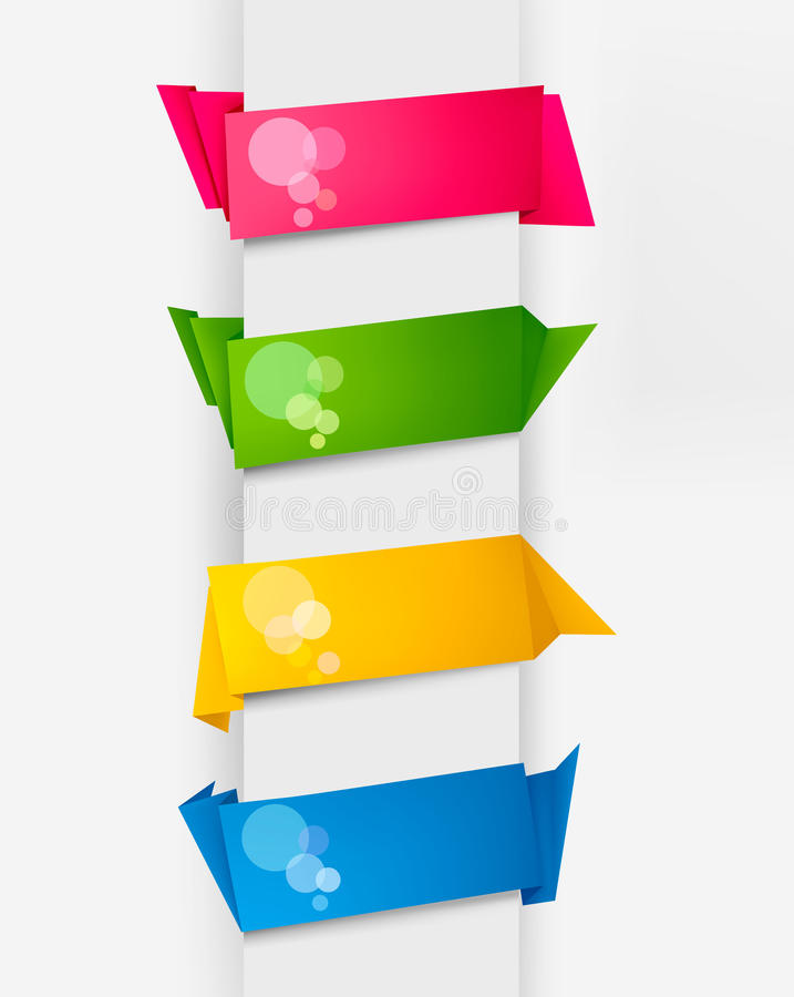 Download Set With Colorful Origami Paper Banners. Vector. Stock Vector - Image: 19805488