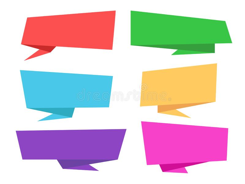 Set of colorful origami speech bubble stock illustration