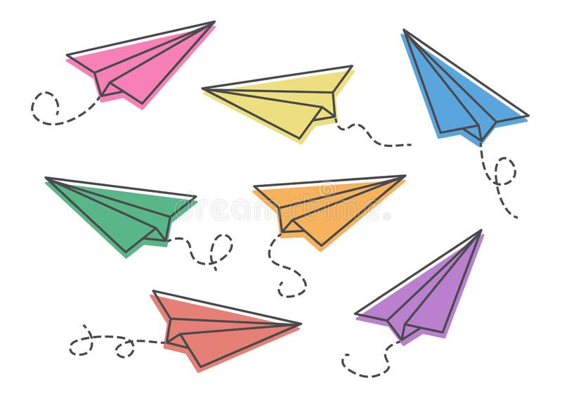 Set of colorful paper planes. Vector illustration. Set of colorful paper planes isolaten on white background. Vector illustration stock illustration