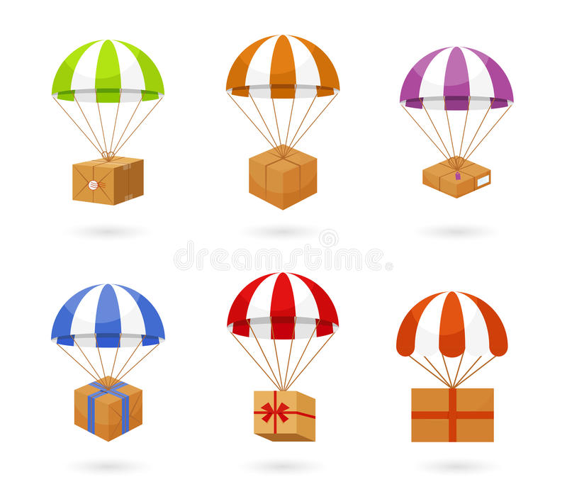 Set of Colorful Parachute Carrying Boxes royalty free illustration
