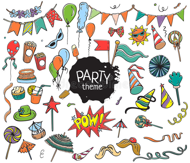Set of colorful party objects hand drawn on white background royalty free stock photography