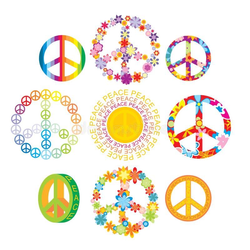 Set of colorful peace symbols stock illustration