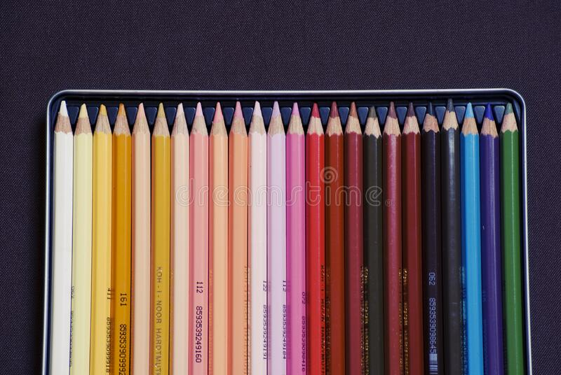Set of colorful pencil crayons royalty free stock images