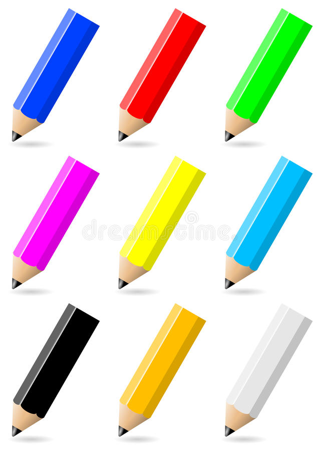 Set of colorful pencils with black tip stock illustration