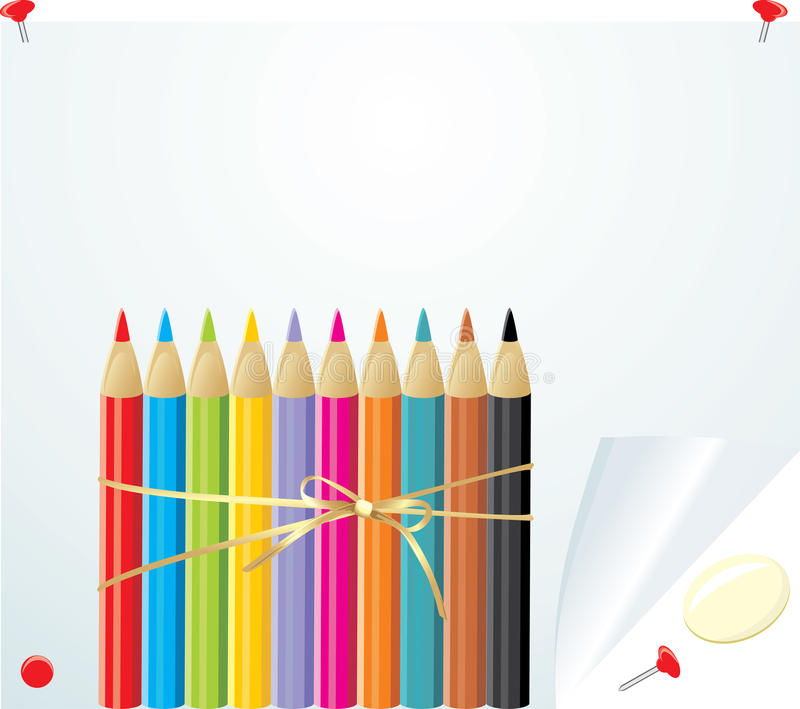 Set of colorful pencils on the convoluted paper stock illustration