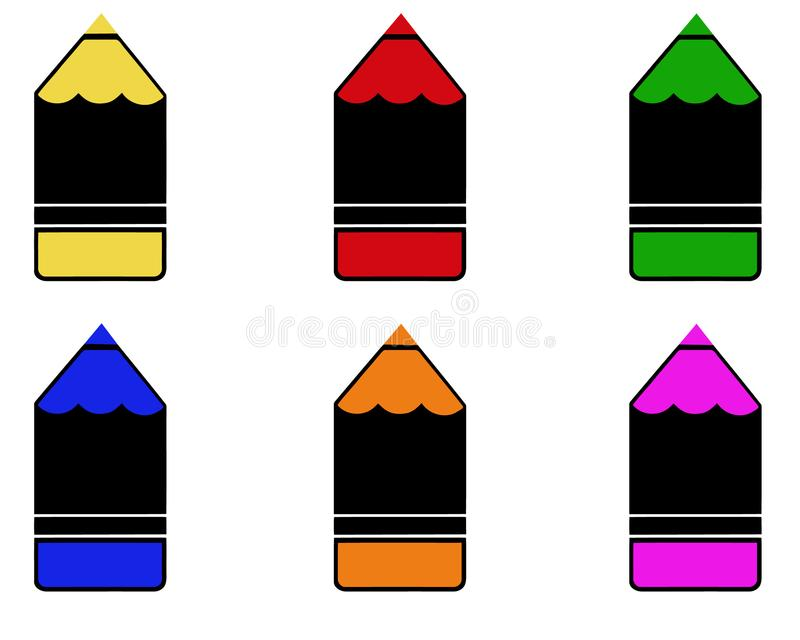 Set of colorful pencils isolated on white background. Colored drawing pencils in a variety of colors. stock illustration