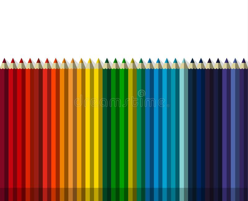 Set of colorful pencils in one row. royalty free illustration