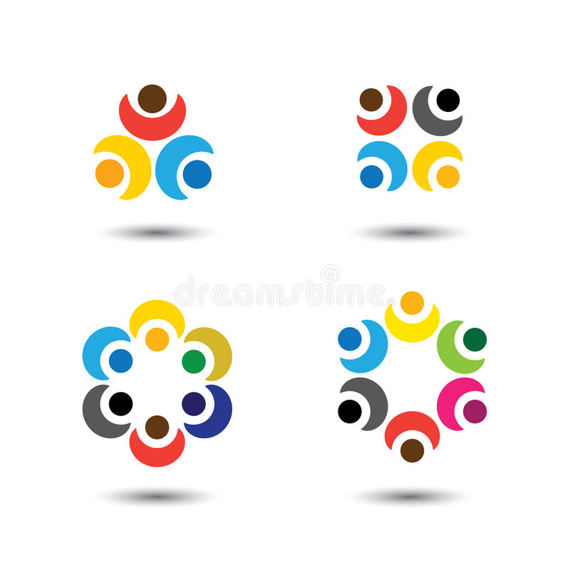 Set of colorful people icons in circle - vector concept school, royalty free illustration