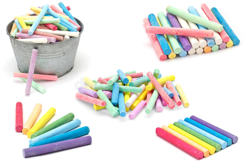 Set of colorful pieces of chalk on white. Background stock photos