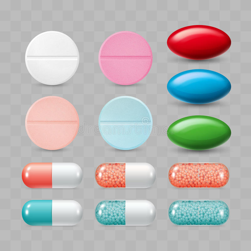 Set of colorful pills. Color group of realistic pharmaceutical d. Rugs. Vector illustration vector illustration
