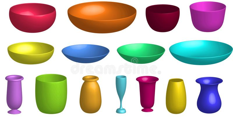 Set of colorful plates and vases isolated on white background. A bright set of 15 plastic bowls, plates, pots and vases of different colors stock illustration