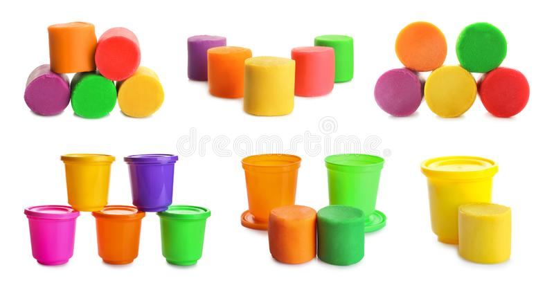 Set of colorful play dough. On white background royalty free stock photos