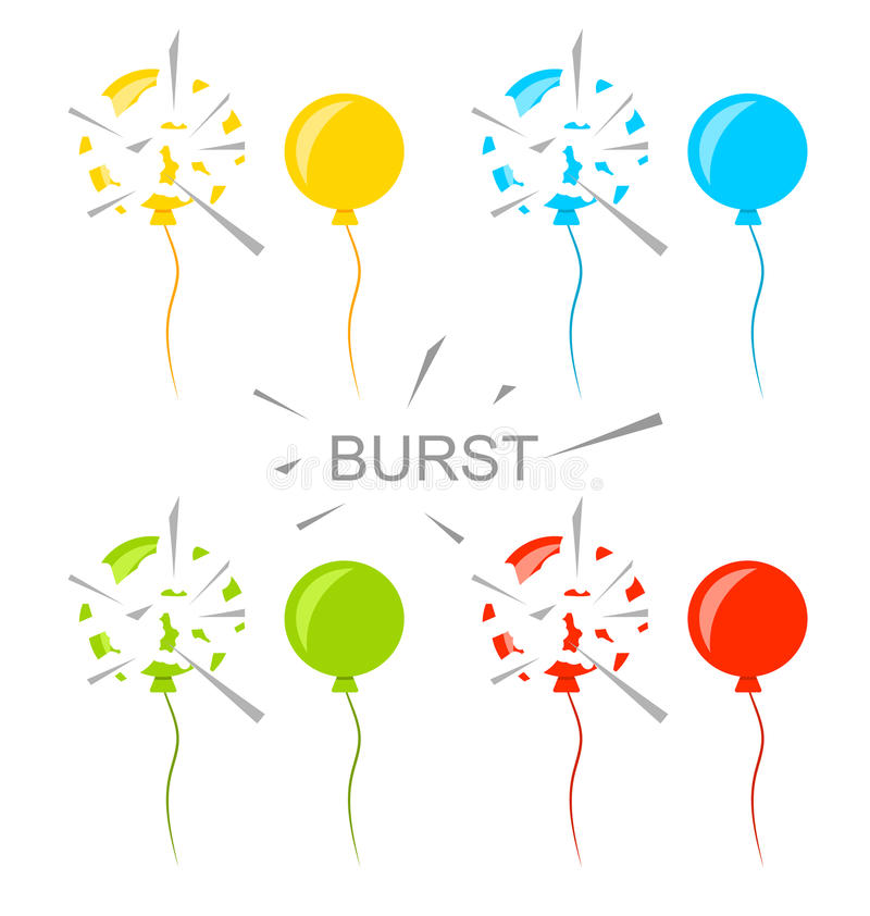 Free Set Colorful Popped Balloons Isolated Royalty Free Stock Images - 55268989
