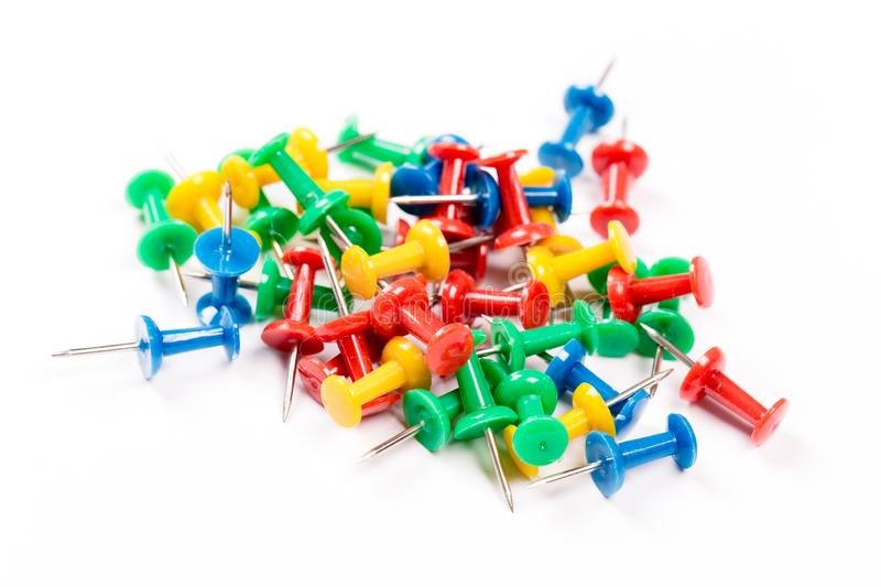 Set of colorful push pins isolated on white background. Group of push-pins, isolated on white stock image