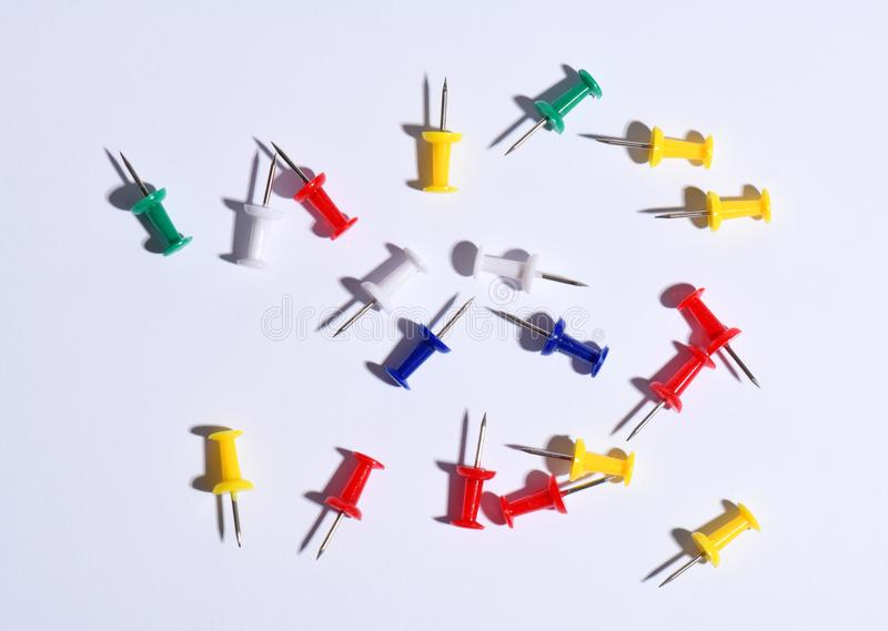 Set of colorful push pins. On white background royalty free stock photos