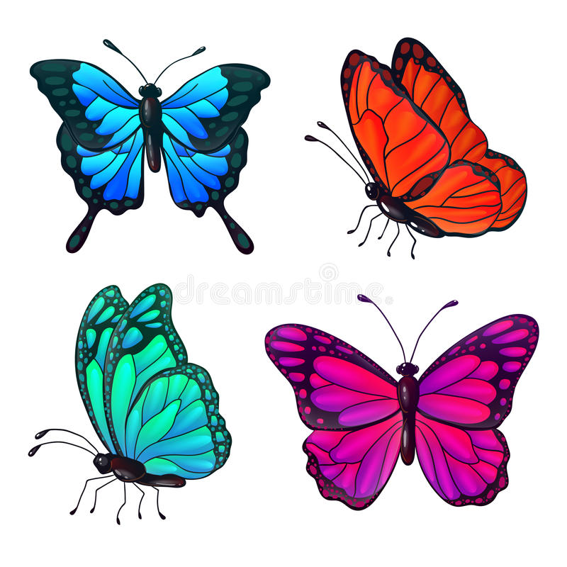 Set of Colorful Realistic Butterflies stock illustration