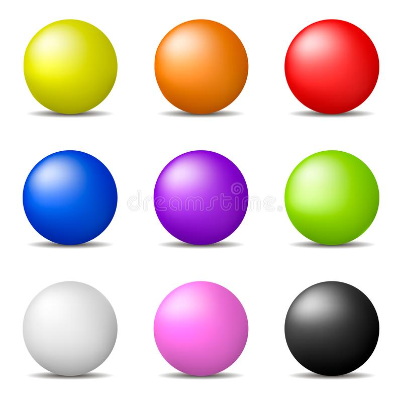 Set of Colorful Realistic Spheres isolated on white background. Glossy Shiny Spheres. Vector Illustration for Your Design. Set of Colorful Realistic Spheres stock illustration
