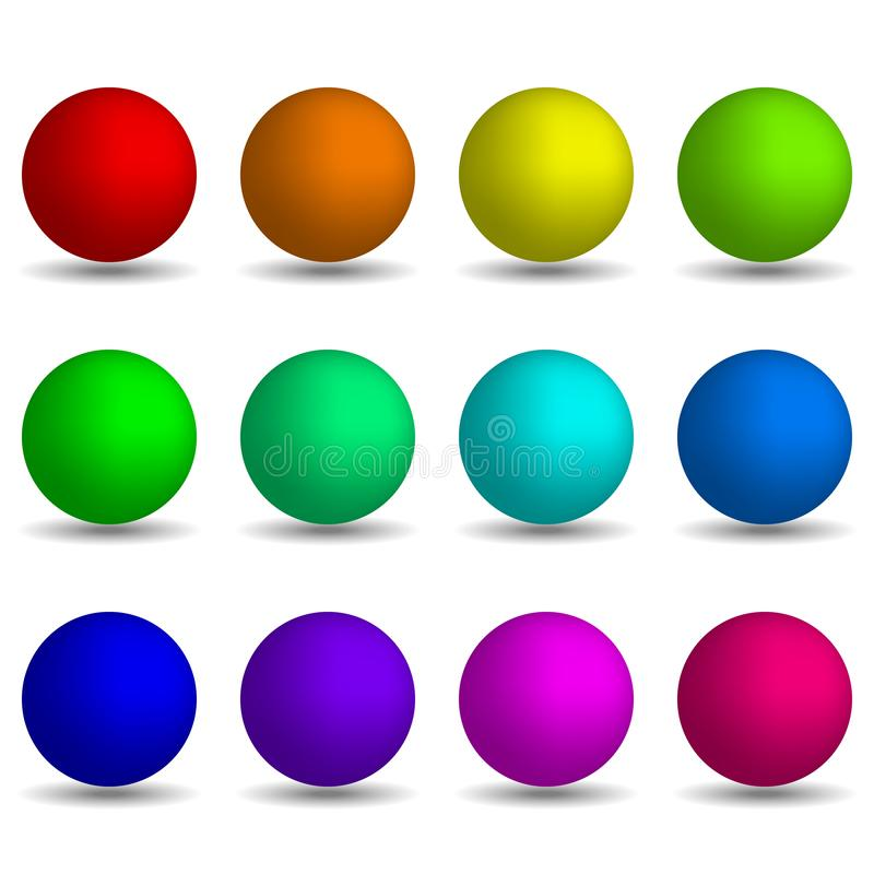 Set of colorful realistic spheres isolated on white background. royalty free illustration