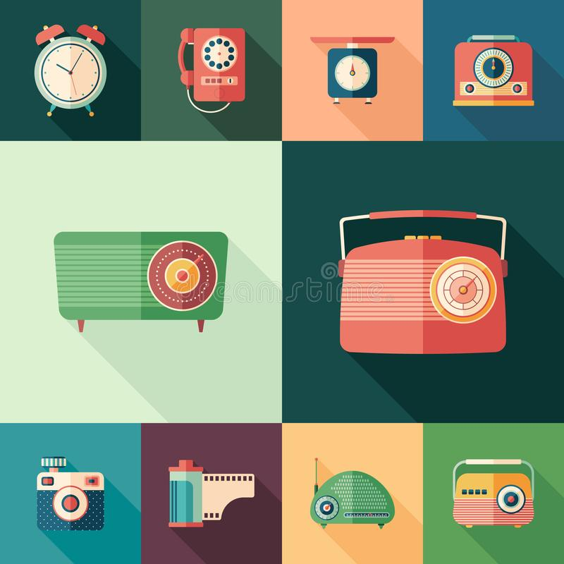 Set of colorful retro flat square icons with long shadows. stock illustration