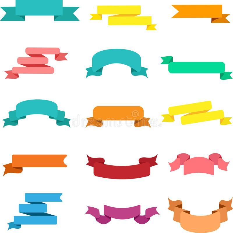 Set of colorful ribbons isolated on white. vector illustration