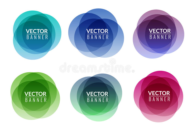 Set of colorful round abstract banners overlay shape. Graphic banners design. Label graphic fun tag concept royalty free illustration