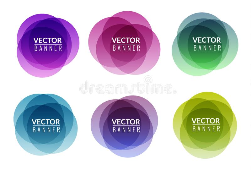 Set of colorful round abstract banners overlay shape. Graphic banners design. Label graphic fun tag concept stock illustration