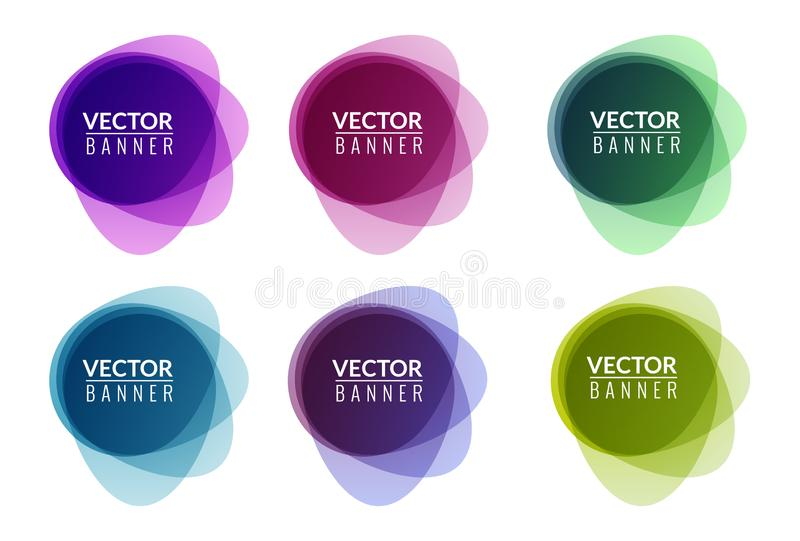 Set of colorful round abstract banners overlay shape. Graphic banners design. Label graphic fun tag concept.  royalty free illustration