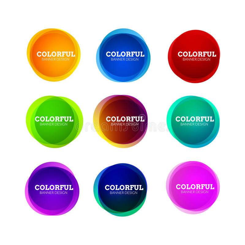 Set of colorful round abstract banners shape. Graphic overlay banners design. Fun label or tag design stock illustration