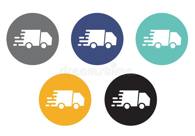 Set of colorful round buttons with moving truck icon - vector suitable for e-shop stock illustration