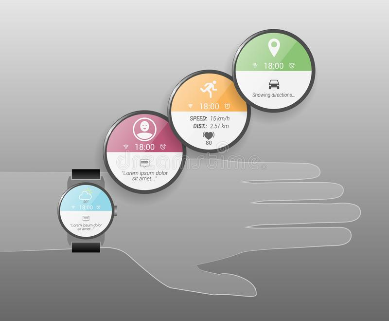 Realistic Round Smart Watch Faces for Various Functions. Set of colorful round smartwatch faces for various functions like directions, weather or sport stock photo