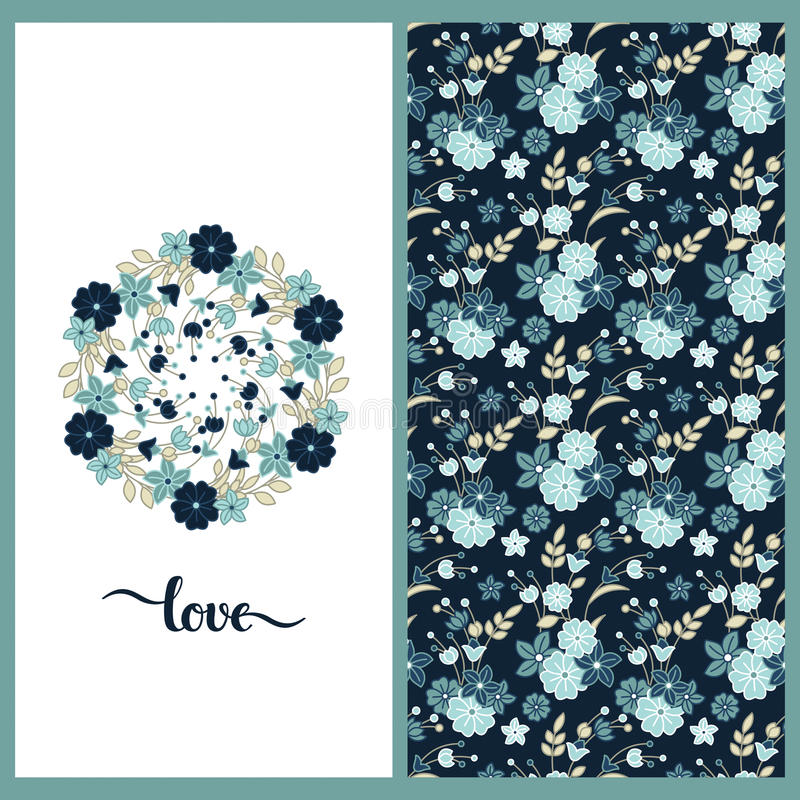 Set with colorful seamless vector flower pretty pattern and a card with flower circle wreath royalty free illustration