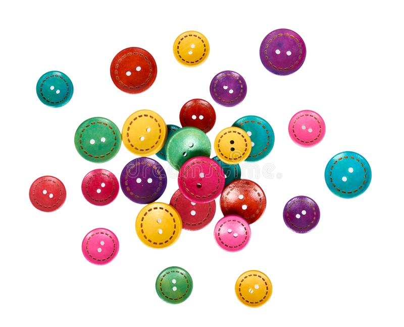Set of colorful sewing buttons, decoration accessory. Isolated on white background royalty free stock photo