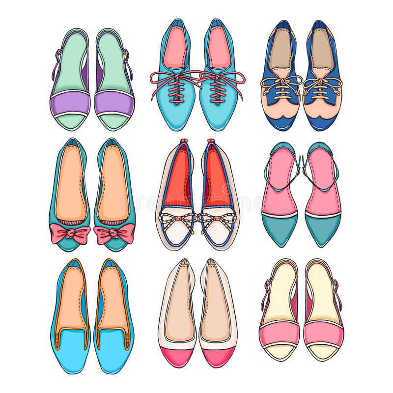Set of colorful shoes. Beautiful set of different colorful shoes on a white background stock illustration