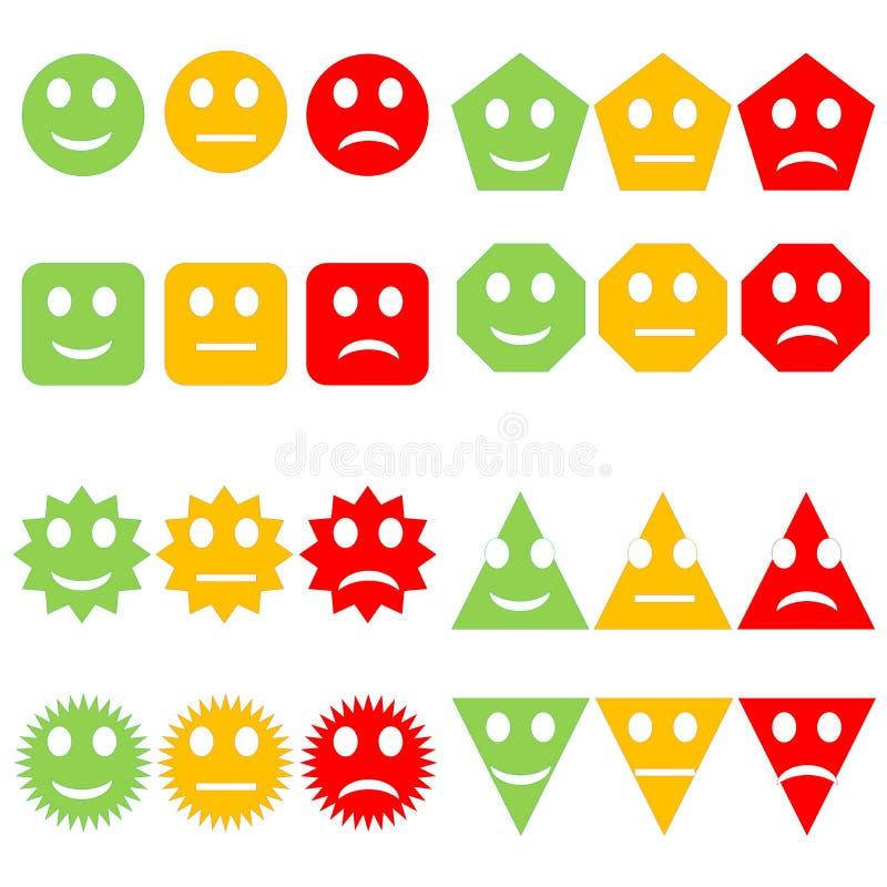 Set of colorful smileys royalty free illustration