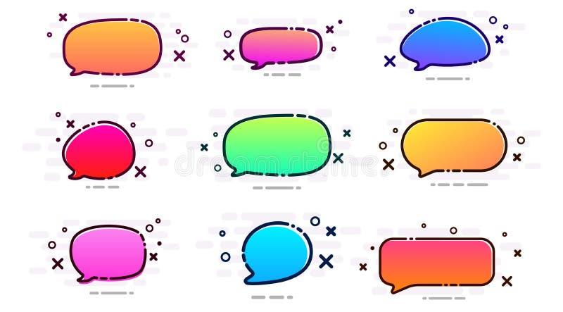 Set of colorful spectrum speech bubbles on white background. stock illustration