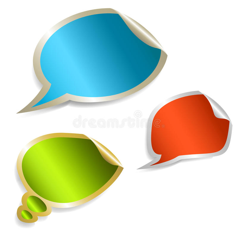 Set of colorful speech bubble stickers vector illustration